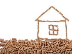 House drawn of wooden pellets Stock Photos