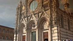 ULTRA HD 4k, real time, The famous cathedral in Siena with details, pan & zoom Stock Footage