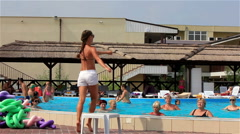 Kirillovka, Ukraine - Pool Party. The trainer conducts a training Stock Footage