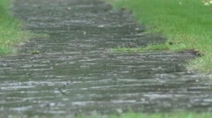 Heavy rain water drops falling on garden stone path and splashing in rainy day Stock Footage