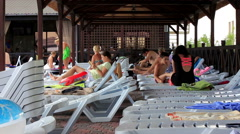 Kirillovka, Ukraine - Pool Party. Many people of different ages Stock Footage