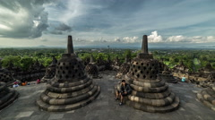Heritage Buddist temple Borobudur complex in Yogjakarta in Java, indonesia. 4K Stock Footage