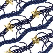 Marine navy blue rope knot seamless pattern with gold star Stock Illustration