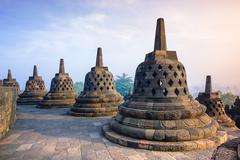 Borobudur, Buddist Temple in Yogyakarta, Indonesia - stock photo