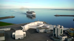Aerial Shot of large passenger ferry sails Sailing on lake channel Arkistovideo