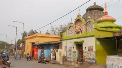 Street scene with small hindu temple,Bhubaneswar,India Stock Footage