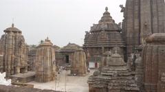 Lingaraja hindu temple complex,Bhubaneswar,India Stock Footage