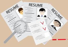 Hiring and employee flat design - stock illustration