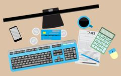 Counting taxes. Accountant workplace Stock Illustration