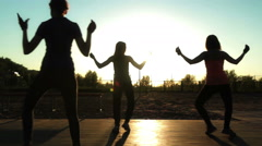 Group of people have fun, funny walking Stock Footage