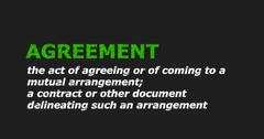 AGREEMENT text in dictionary Stock Illustration