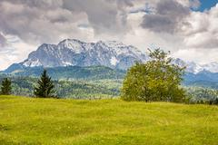 Karwendel mountains in the alps of Bavaria - stock photo