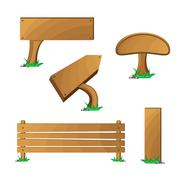 Wood boards set - stock illustration