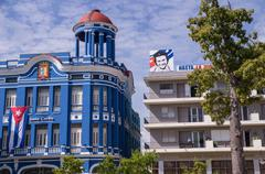 Cuban buildings with flag and Che Guavera Stock Photos