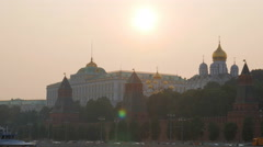 Pink sunset over Grand Kremlin Palace in summer time Stock Footage