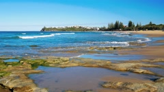 Hot sunny day at Dicky Beach Caloundra, Queensland, Australia Stock Footage