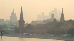 Panorama of Moscow in summer sunset with smog Stock Footage