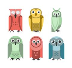 Cartoon owl vector - stock illustration