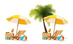 Vector travel and summer beach vacation relax icon Stock Illustration