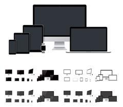 Vector realistic laptop, desktop computer, mobile, tablet, smartwatch templates Piirros