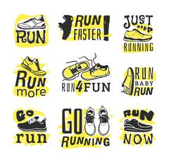 Run sport motivation vector set - stock illustration