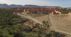 Drone footage of buildings in Erg Chebbi Desert, Morocco Stock Footage