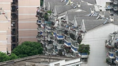 China Wuhan low rise apartment roof tops Stock Footage