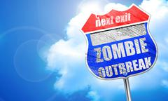 zombie virus concept background, 3D rendering, blue street sign - stock illustration