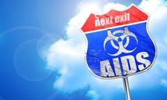Aids virus concept background, 3D rendering, blue street sign Stock Illustration