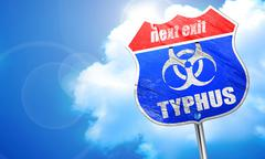 Typhus concept background, 3D rendering, blue street sign - stock illustration