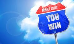 You win, 3D rendering, blue street sign Stock Illustration