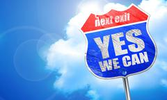 Yes we can, 3D rendering, blue street sign Stock Illustration