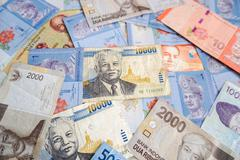 Laotian kip among different asian currencies Stock Photos