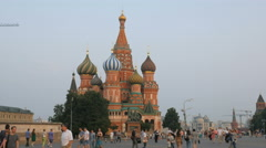 MOSCOW, RUSSIA view of Saint Basil's Cathedral with strolling Stock Footage