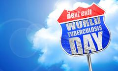 World tuberculosis day, 3D rendering, blue street sign Stock Illustration