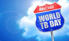 World tb day, 3D rendering, blue street sign Stock Illustration