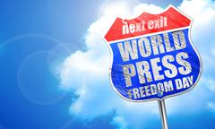 World press freedom day, 3D rendering, blue street sign Stock Illustration
