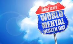 World mental health day, 3D rendering, blue street sign Stock Illustration