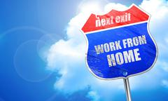 work from home, 3D rendering, blue street sign - stock illustration