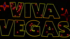 Zoom Out - Viva Vegas Neon Sign - Las Vegas Stock Footage