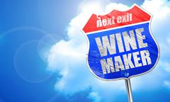 wine maker, 3D rendering, blue street sign - stock illustration