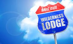 wilderness lodge, 3D rendering, blue street sign - stock illustration