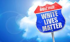 White lives matter, 3D rendering, blue street sign Stock Illustration