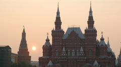 Sunset over State Historical Museum of Russia on red square in Moscow Stock Footage