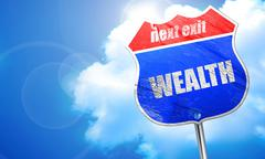Wealth, 3D rendering, blue street sign Stock Illustration