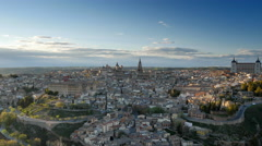 Hight quality panning shot of Toledo in sunset lights, Spain. UHD Stock Footage