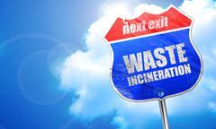 waste incineration, 3D rendering, blue street sign - stock illustration