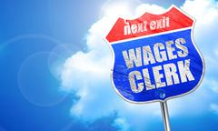 Wages clerk, 3D rendering, blue street sign Stock Illustration
