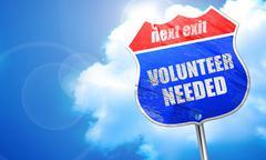 Volunteer needed, 3D rendering, blue street sign Stock Illustration