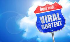 Viral content, 3D rendering, blue street sign Stock Illustration